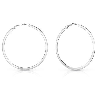 Guess Rhodium Plated Plain Flat 60mm Hoop Earrings - Product number 8359210