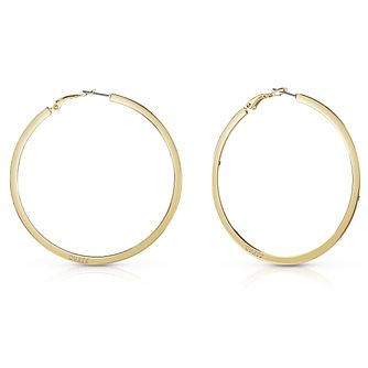 Guess Gold Plated Plain Flat 60mm Hoop Earrings - Product number 8359229