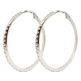 Guess Rhodium Plated Studded 50mm Hoop Earrings - Product number 8359237