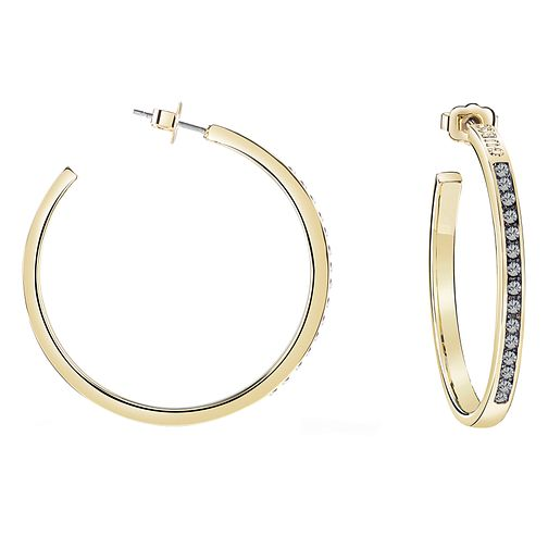 Guess Gold Plated Black Swarovski Crystal Hoop Earrings - Product number 8359385