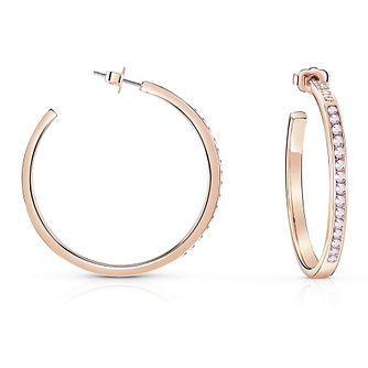 Guess Rose Gold Plated Rhodium Aurora Crystal Hoop Earrings - Product number 8359393