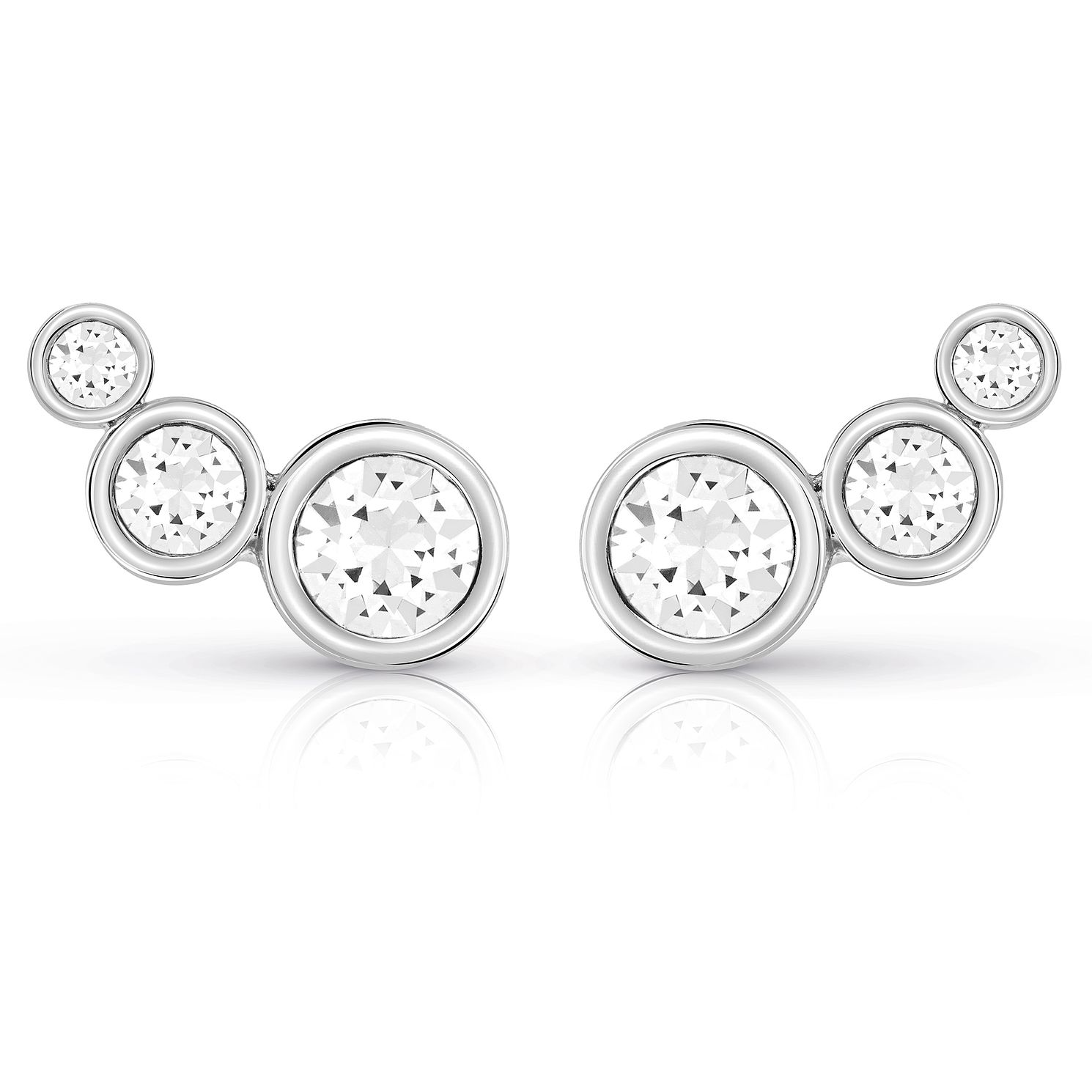 Guess Rhodium Plated Multi Crystal Stud Earrings - Product number 8359458