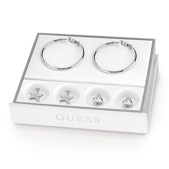 Guess Rhodium Plated Hoop Earrings & Charm Set - Product number 8359490