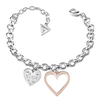 Guess Two Tone Double Heart Chain Bracelet - Product number 8359628