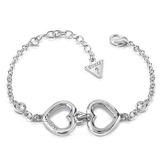 Guess Rhodium Plated Two Hearts Crystal Bracelet - Product number 8359644