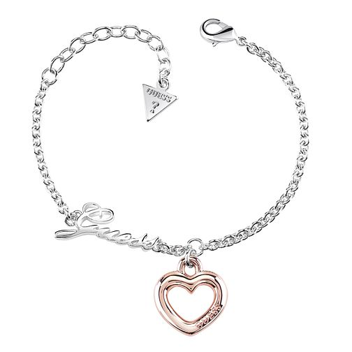 Guess Two Tone Little Bold Heart Charm Bracelet - Product number 8359881