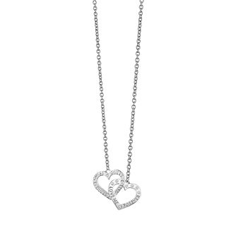 Guess Rhodium Plated Embracing Hearts Necklace - Product number 8360278