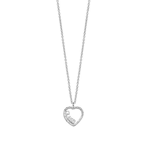 Guess Rhodium Plated Sparkle Heart Necklace - Product number 8360286