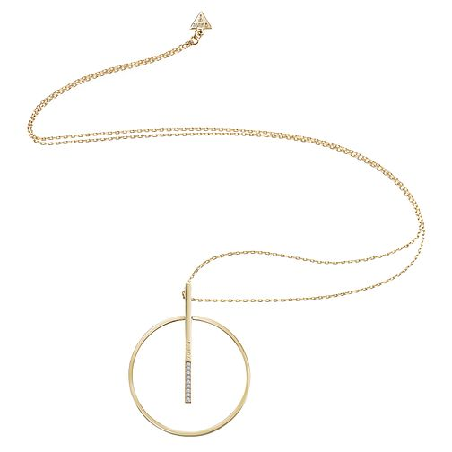 Guess Gold Plated Big Circle & Bar Necklace - Product number 8360480