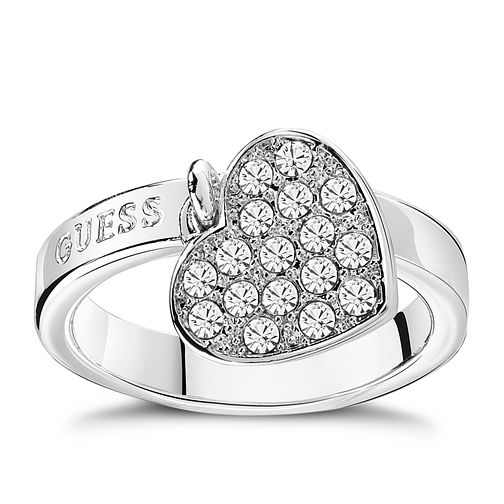 Guess Rhodium Plated Heart Charm Ring - Product number 8360766