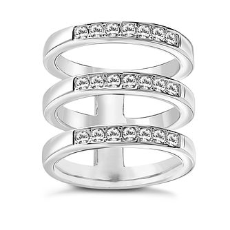 Guess Rhodium Plated Clear Crystal Rows Ring - Product number 8360995