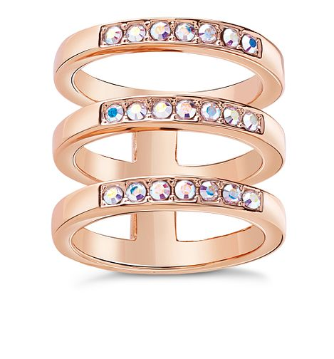 Guess Rose Gold Plated Aurora Crystal Rows Ring - Product number 8361037
