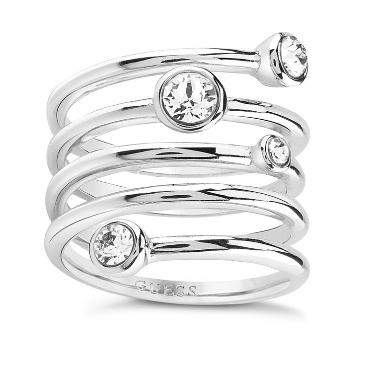 Guess Rhodium Plated Multi Crystal Spiral Ring