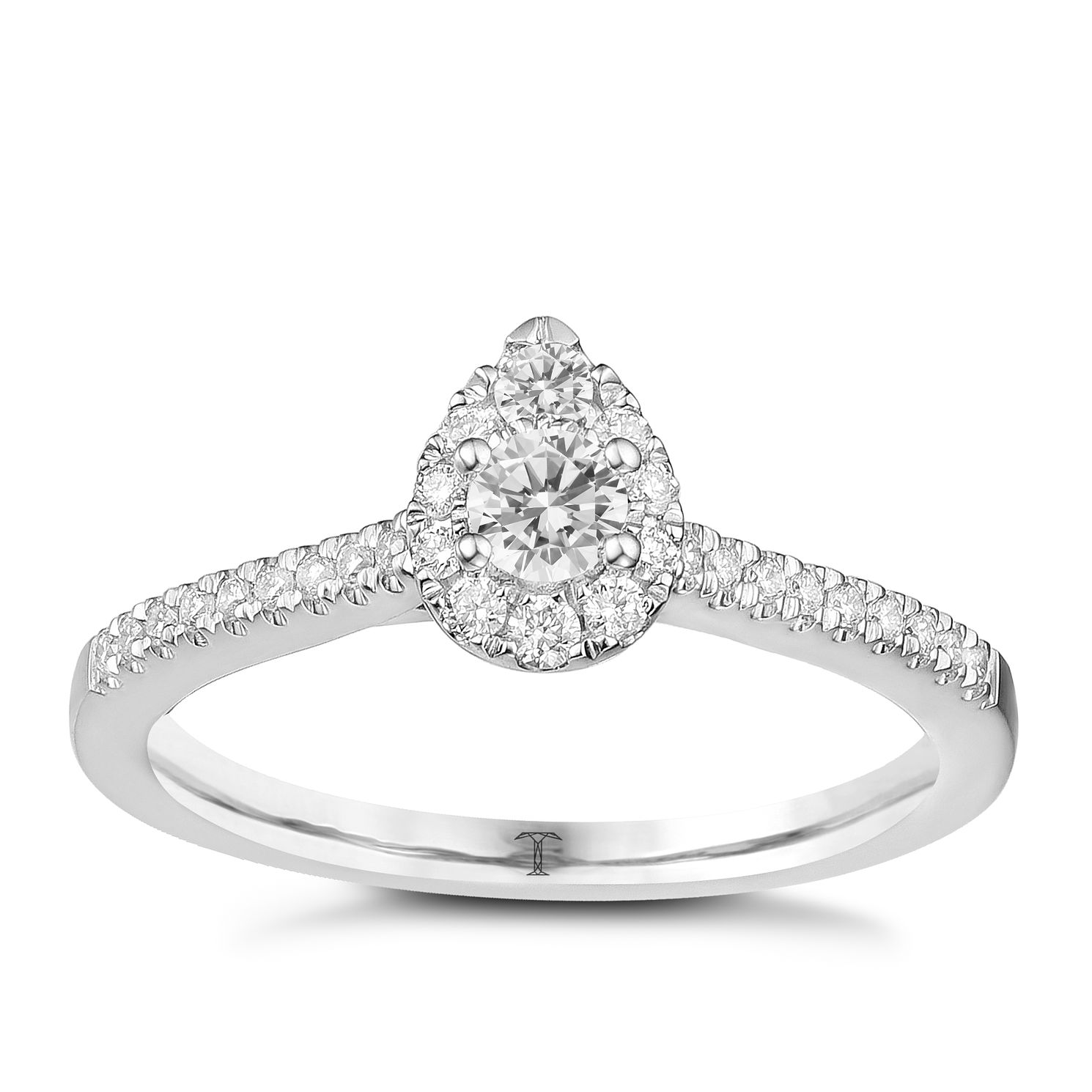 Tolkowsky 18ct White Gold 0.38ct Pear Halo Diamond Ring - Product number 8361134