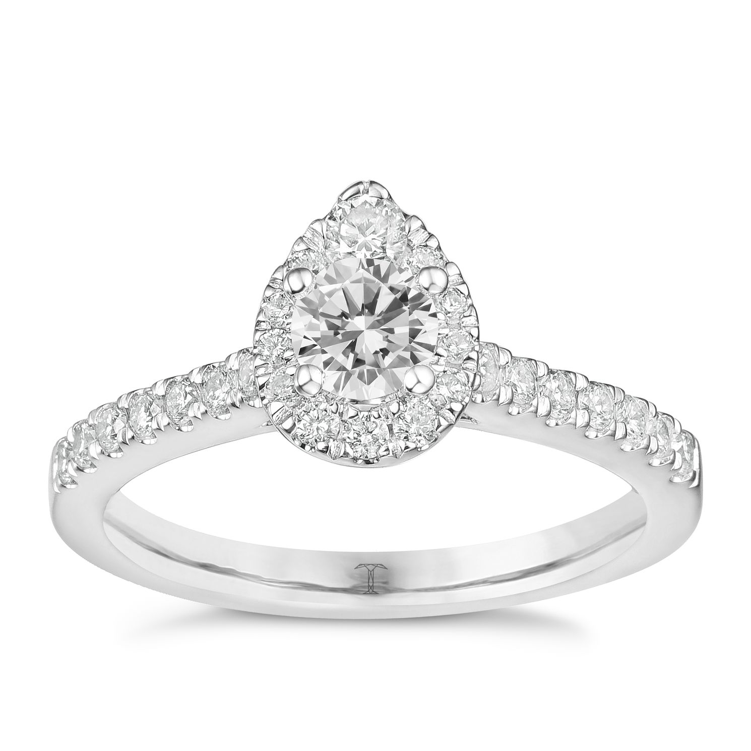 Tolkowsky 18ct White Gold 3/4ct Pear Halo Diamond Ring - Product number 8361304