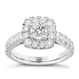Tolkowsky 18ct White Gold 1.50ct Cushion Diamond Halo Ring - Product number 8361711