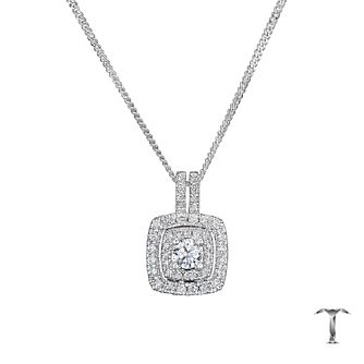 Tolkowsky 18ct White Gold 1/2ct Halo Diamond Pendant - Product number 8361843