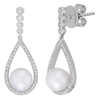 Neil Lane Sterling Silver 0.25ct Diamond And Pearl Earrings - Product number 8367280