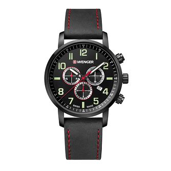 Wenger Attitude Chrono Men's Black Leather Strap Watch - Product number 8368171