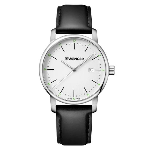 Wenger Urban Classic Men's Black Leather Strap Watch - Product number 8368325