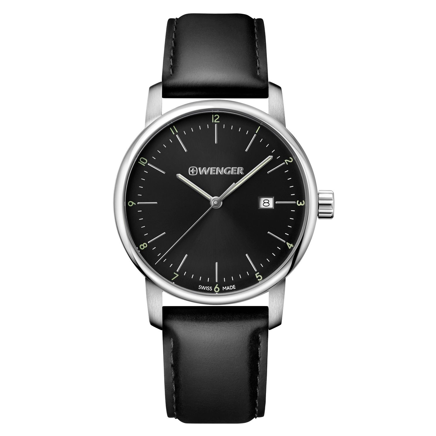 Wenger Urban Classic Men's Black Leather Strap Watch - Product number 8368333