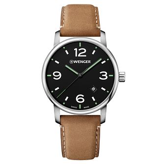 Wenger Urban Metropolitan Men's Brown Leather Strap Watch - Product number 8368384