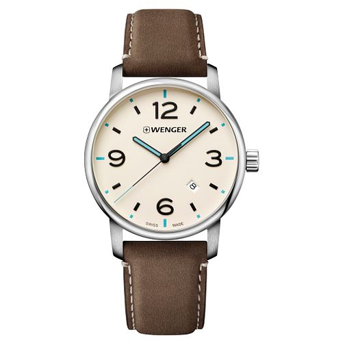 Wenger Urban Metropolitan Men's Brown Leather Strap Watch - Product number 8368392