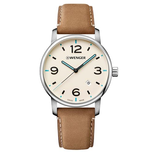 Wenger Urban Metropolitan Men's Brown Leather Strap Watch - Product number 8368422