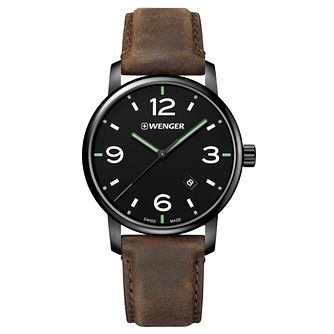 Wenger Urban Metropolitan Men's Brown Leather Strap Watch - Product number 8368430