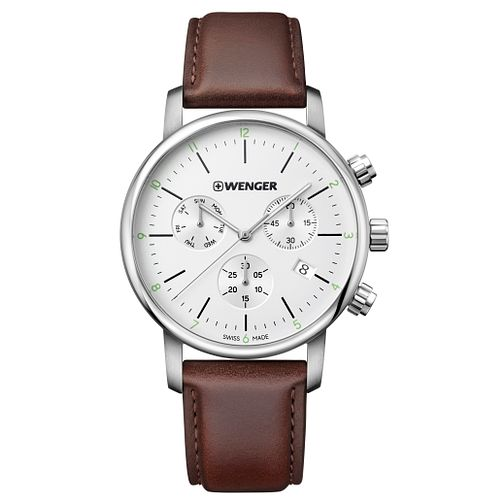 Wenger Urban Classic Chrono Men's Brown Leather Strap Watch - Product number 8368449