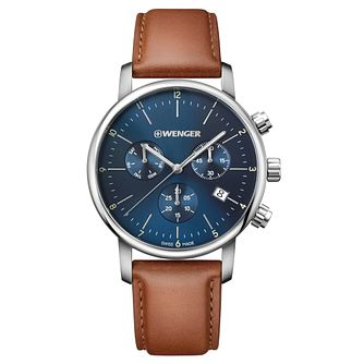 Wenger Urban Classic Chrono Men's Brown Leather Strap Watch - Product number 8368457