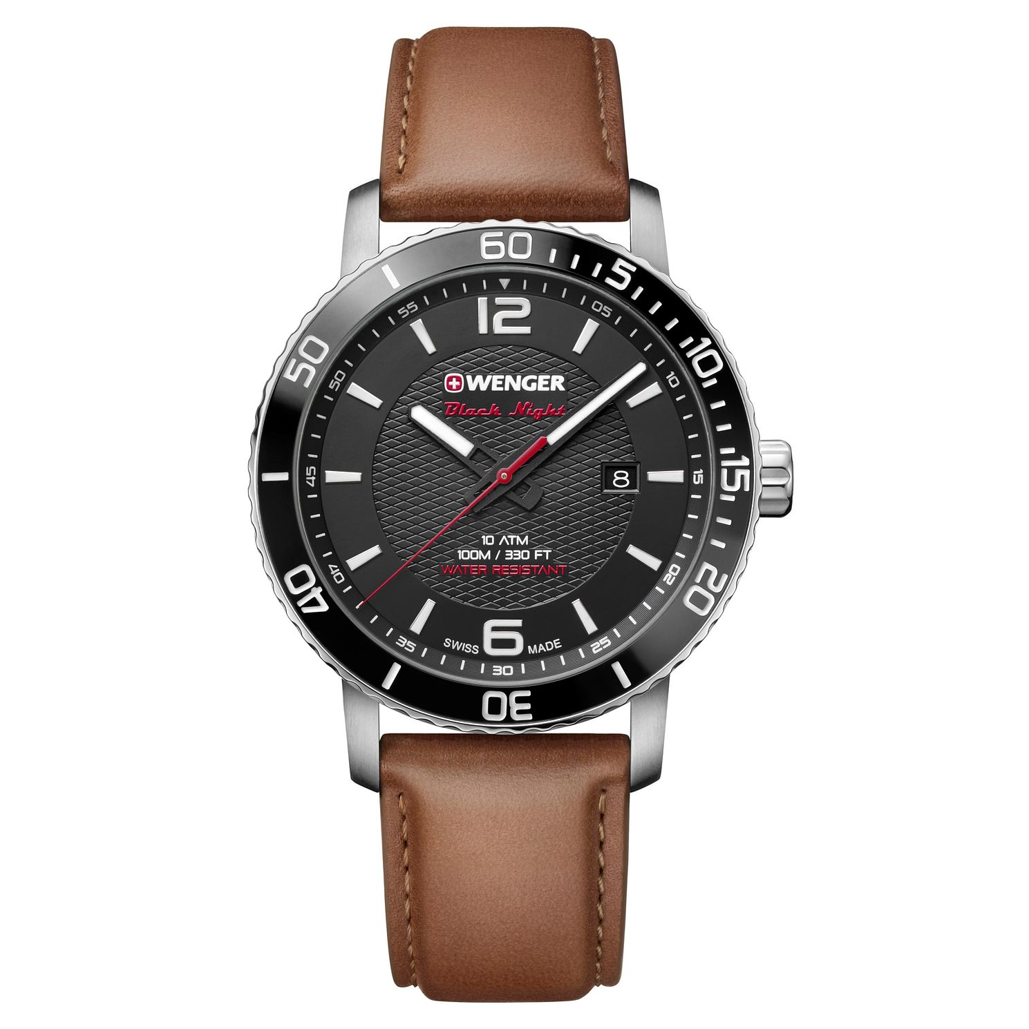 Wenger Roadster Black Night Men's Brown Leather Strap Watch - Product number 8368503