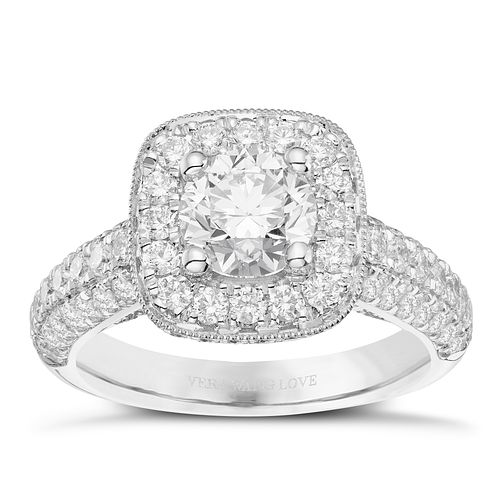 Vera Wang 18ct White Gold 2.45ct Diamond Cushion Halo Ring - Product number 8369968