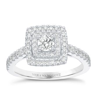 Vera Wang 18ct 0.70ct Double Cushion Diamond Halo Ring - Product number 8370516