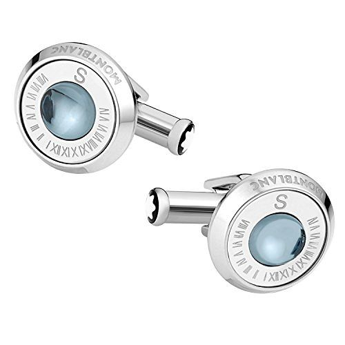 Mont Blanc Stainless Steel Round Blue Stone Cufflinks - Product number 8383383