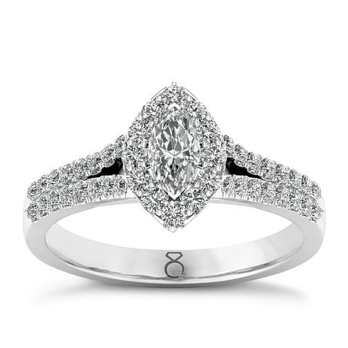 c48600ca4 The Diamond Story 18ct White Gold 0.66ct Marquise Halo Ring - Product number  8389187