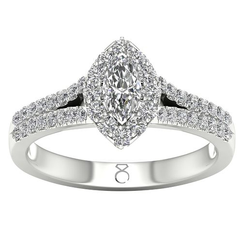 6ea67b64f The Diamond Story 18ct White Gold 0.66ct Marquise Halo Ring - Ernest Jones