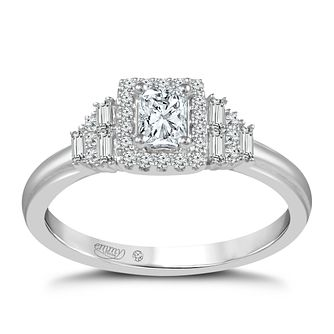 Emmy London Platinum 1/2 Carat Diamond Halo Ring - Product number 8390606