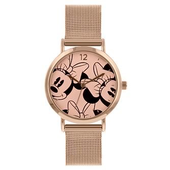 Disney Minnie Mouse Rose Gold Mesh Strap Watch - Product number 8391963