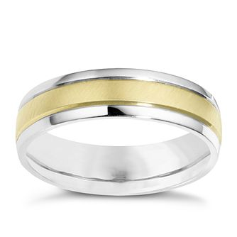 Sterling Silver 9ct Yellow Gold Stripe Ring - Product number 8393192