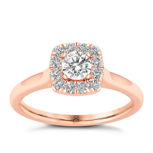 The Diamond Story 18ct Rose Gold 0.50ct Cushion Halo Ring - Product number 8397228