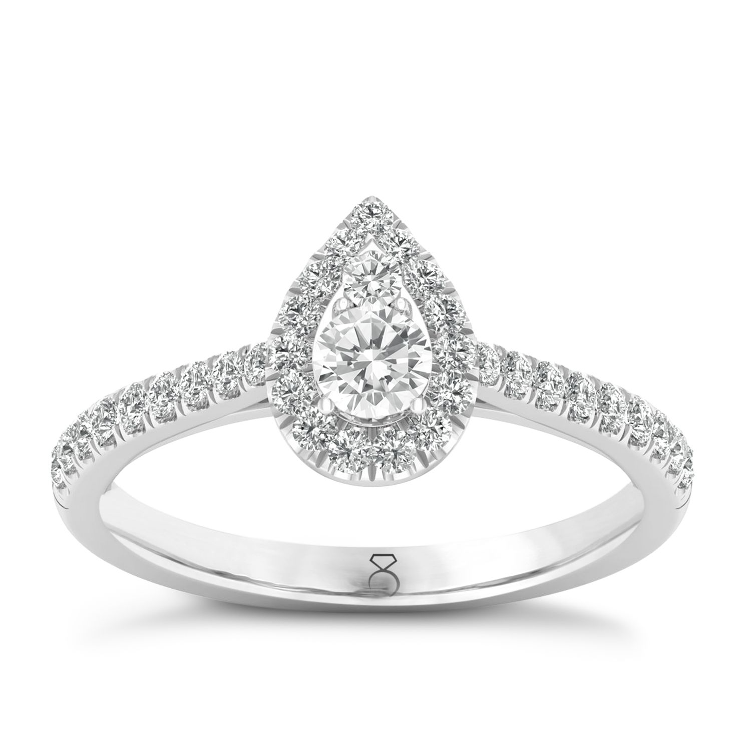 The Diamond Story Platinum 1/2ct Pear Halo Ring - Product number 8397473