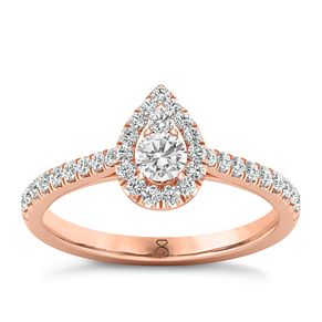 The Diamond Story 18ct Rose Gold 0.50ct Pear Halo Ring - Product number 8397635