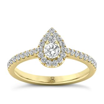 The Diamond Story 18ct Yellow Gold 0.50ct Pear Halo Ring - Product number 8397783
