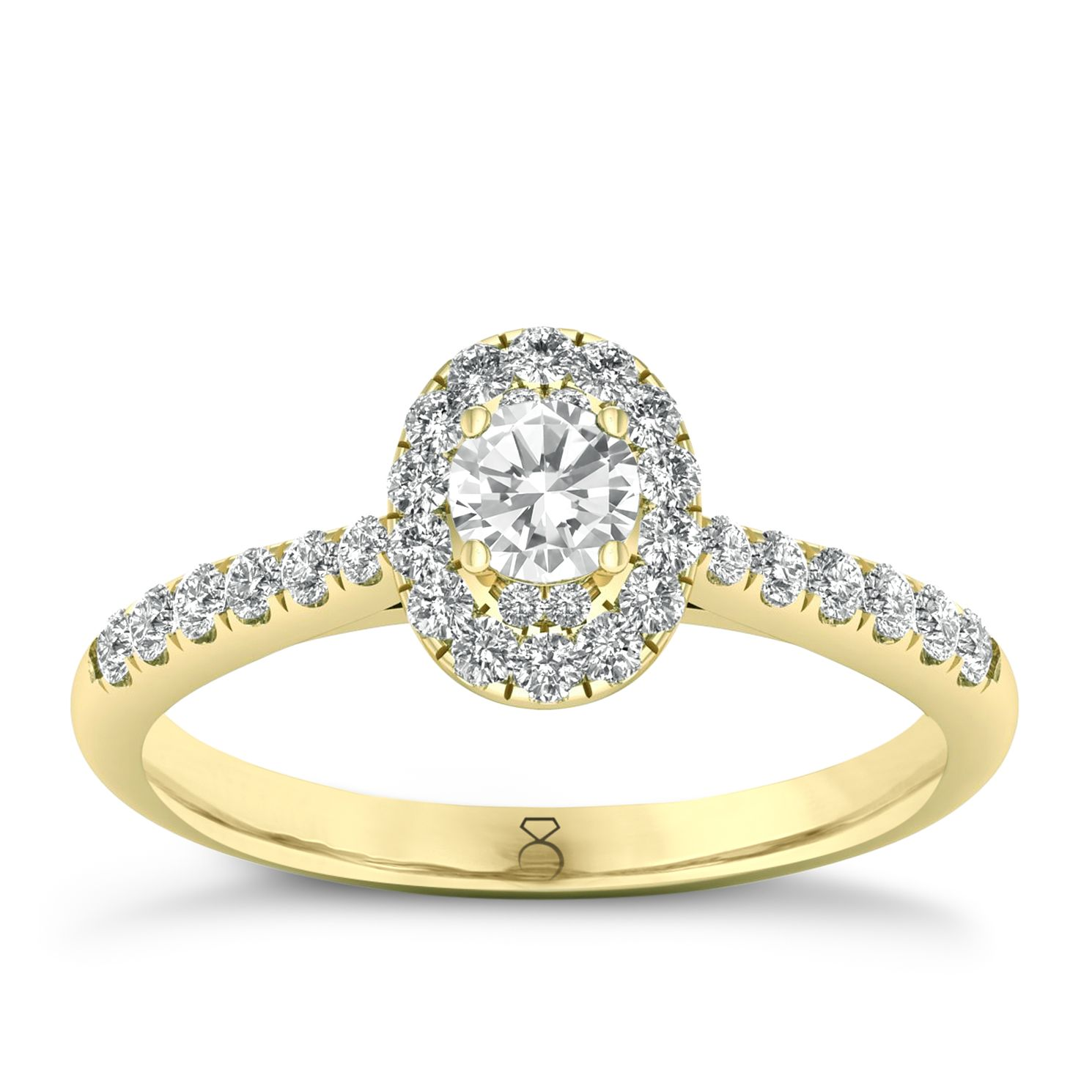 The Diamond Story 18ct Gold 0.50ct Total Diamond Halo Ring - Product number 8398240