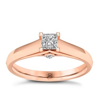 The Diamond Story 18ct Rose Gold 0.33ct Princess Cut Ring - Product number 8399581