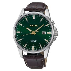 Seiko Kinetic Men's Brown Leather Strap Watch - Product number 8400741