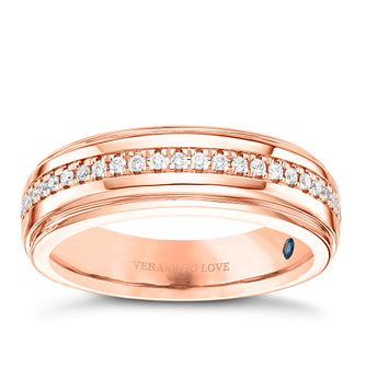 Vera Wang Men's 18ct Rose Gold 0.23ct Diamond Band - Product number 8401942