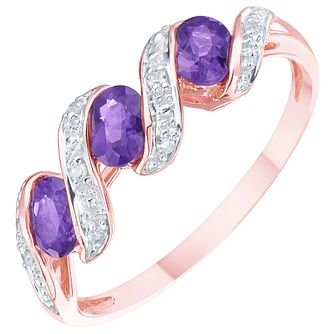 9ct Rose Gold 3 Stone Amethyst & Diamond Ring - Product number 8405034