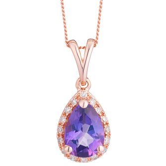 9ct Rose Gold Pear Shape Amethyst & Diamond Pendant - Product number 8405247